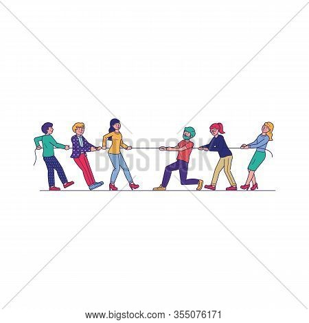 People Competing In Tug Of War. Two Struggling Team Pulling Rope. Vector Illustration For Game, Cont