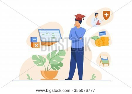 Male Student Choosing Program In College. Young Man In Graduation Cap Thinking Over Future Occupatio