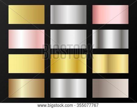 Glossy Golden, Silver, Bronze, Rose Gold Gradients. Metallic Foil Texture Silver, Steel, Chrome, Pla