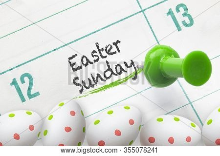 A Calendar On Easter Sunday With Easter Eggs