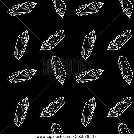 Minimalistic Crystal Doodles Seamless Pattern Background. Chalkboard Hand Drawn Quartz Figures Cute