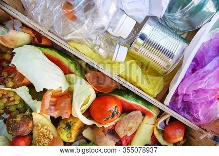 Different Trash. Garbage Sorting: Iron, Paper, Plastic, Domestic Waste For Compost From Fruits And V