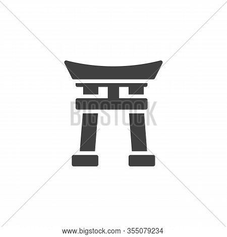 Shinto Shrine Vector Icon. Filled Flat Sign For Mobile Concept And Web Design. Torii Gate Glyph Icon
