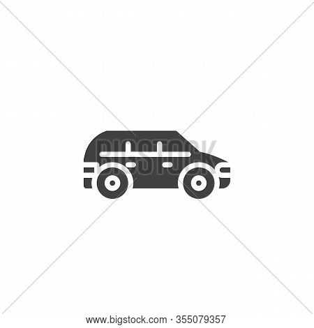 Suv Car Vector Icon. Filled Flat Sign For Mobile Concept And Web Design. Minivan Car Glyph Icon. Sym