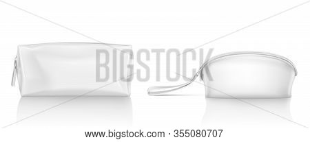 White Cosmetic Bag With Zipper For Makeup And Beauty Tools. Vector Realistic Mockup Of Blank Fabric