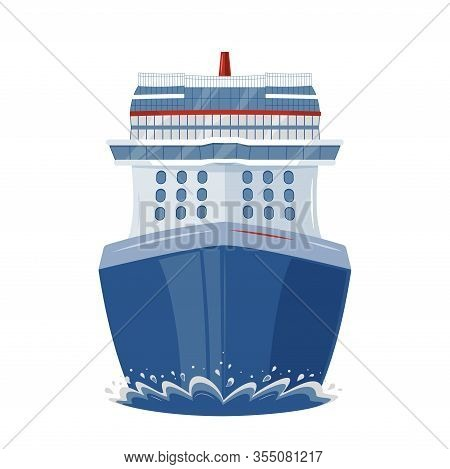 Isolated Cruise Ship In The Sea, Front View, Flat Style Illustration. Vacation, Travel, Holidays, Cr