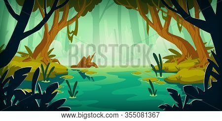 Swamp In Tropical Forest. Landscape With Marsh, Water Lilies, Trees Trunks And Bog Grass. Vector Car