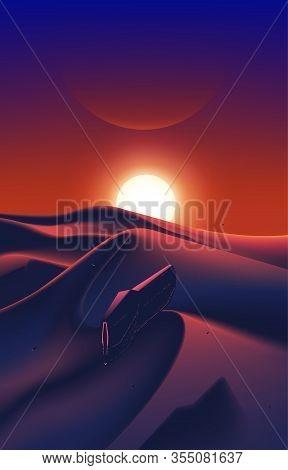 Spaceship Fleet Flying Over The Desert