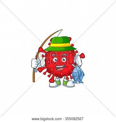 Cartoon Character Of Funny Fishing Dangerous Coronaviruses