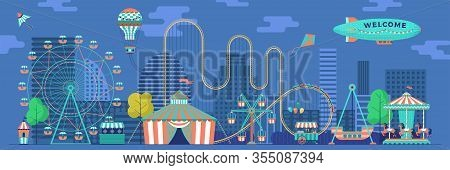 Amusement Park Panorama With Various Attractions. City Area For Recreation And Entertainment. Vector
