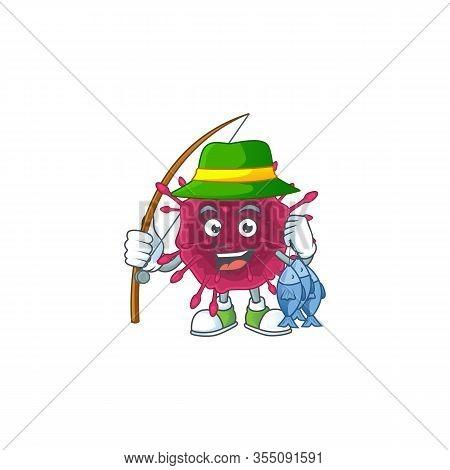 Cartoon Character Style Of Funny Fishing Covid19