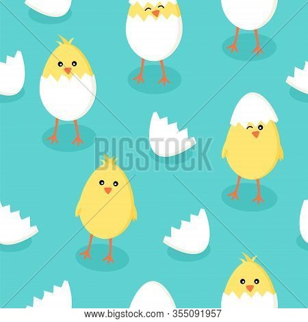 Easter Seamless Pattern With Cute Little Yellow Chicks In Cracked Eggs And Egg Shell On Blue Green B