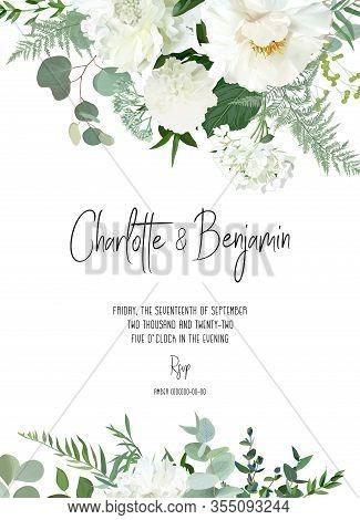 Retro Delicate Vector Design Flower Card. Creamy Peony, White Dahlia, Hydrangea, Eucalyptus, Silver