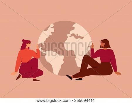 Women Sit Near Big Globe. Friendly Girls Care About Planet Earth. Environmental Conservation Vector