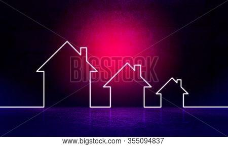 Neon effect houses line illustration