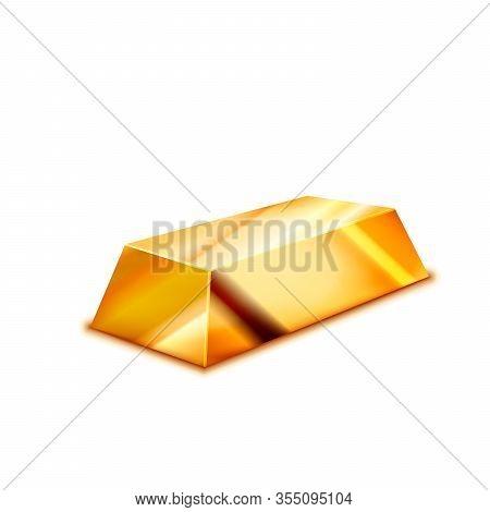 Bright Realistic Glossy Golden Ingot On White