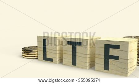 The Ltf Text On Wooden Cube And Coins 3D Rendering  For Business Content.
