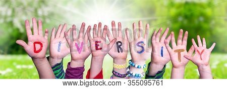 Children Hands Building Word Diversity, Grass Meadow