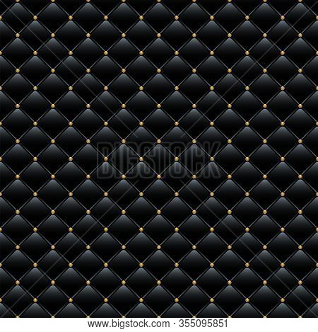Black Leather Sofa Cover With Golden Buttons Background. Vector Luxury Seamless Pattern