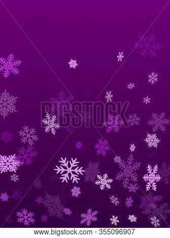 Winter Snowflakes Border Minimal Vector Background.  Macro Snow Flakes Flying Border Illustration, C
