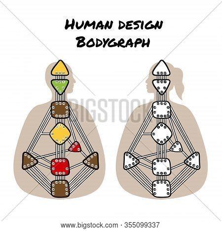 Human Design Bodygraph Chart Design. Nine Energy Centers