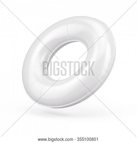 Blank white swim ring isolated on white, 3d rendering. Summer inflatable lifebuoy - round swimming ring. 3d rendering
