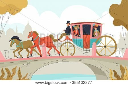 18th 19th Century Victorian Old Town Carriage Outdoor Composition With Two Horses Equipage Passing T