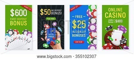 Online Casino Poker Club 4 Realistic Colorful Posters With Hand Holding Cards Bonus Floating Chips V
