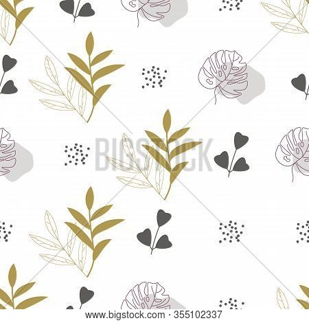 Seamless Abstract Geometric Pattern With Natural Elements. Leaves, Blades Of Grass And Twigs. Bulrus
