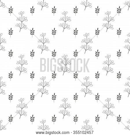 Seamless Geometric Pattern With Natural Elements. Leaves, Blades Of Grass And Twigs. Bulrush And Wil