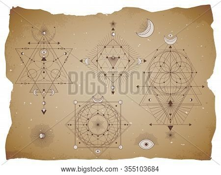 Vector Set Of Sacred Geometric Symbols With Moon, Eye, Arrows And Figures On Old Paper Background Wi