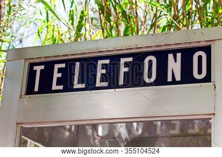 The Fragment Of Telephone Box In Barcelona, Spain