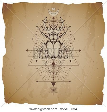 Vector Illustration With Hand Drawn Stag Beetle And Sacred Geometric Symbol On Vintage Paper Backgro