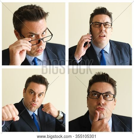 Crazy Business Leader Portrait Set With Different Gestures And Facial Expressions. Puzzled, Pensive