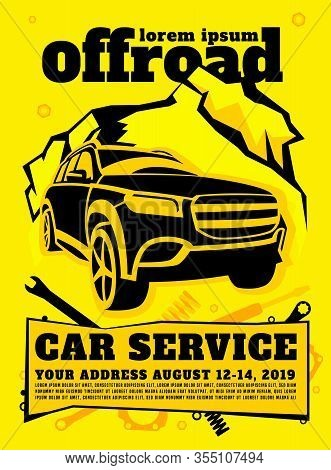 Off Road Car Service Poster. Automotive Offroad Repair Concept. Off-roading Suv Maintainance And Rep
