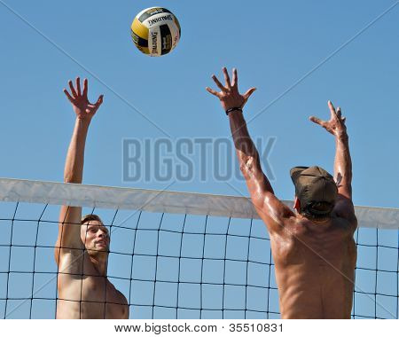 HERMOSA BEACH, CA - JULY 21: Casey Patterson and Jeremy Casebeer compete in the Jose Cuervo Pro Beach Volleyball tournament in Hermosa Beach, CA on July 21, 2012.