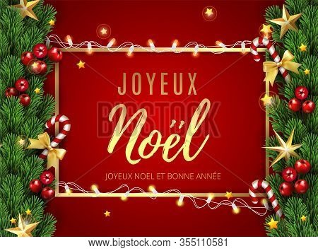Joyeux Noel- Merry Christmas Happy New Year Typographical Greetings In French. Holiday Greeting And