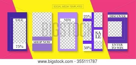 Social Stories Cool Vector Layout. Blogger Minimal Covers, Social Media Kit Template. Online Shop Fa