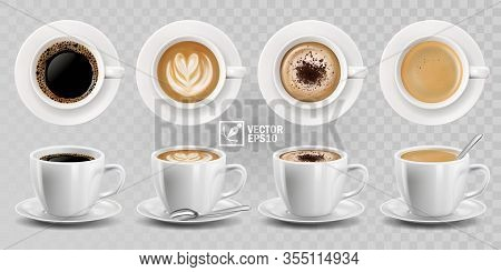 3d Realistic Vector Isolated White Cups Of Coffee With Spoon, Top And Side View, Cappuccino, America