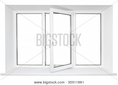 White Plastic Triple Door Window Isolated On White Background. Opened Door