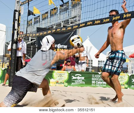 HERMOSA BEACH, CA - JULY 21: Danko Iordanov and John Hyden compete in the Jose Cuervo Pro Beach Volleyball tournament in Hermosa Beach, CA on July 21, 2012.