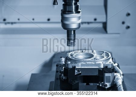 The  Multi-axis  Cnc Milling Machine  Face Cutting  At The Aluminium Casting Automotive Parts By Ind