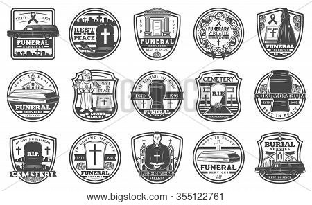 Cemetery Tombstone And Coffin Vector Icons, Funeral And Burial Service. Cremation Urn, Interment Rel