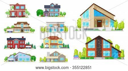 House Building Vector Icons. Village Home, Cottage And Villa, Mansion, Bungalow And Townhouse, Archi