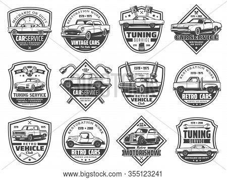 Retro Car Service Vector Icons With Old Vehicle Spare Parts. Mechanic Garage Station, Engine, Piston