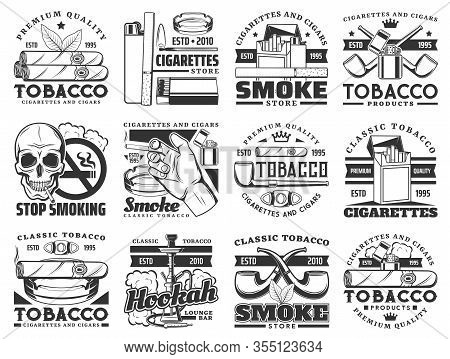 Cigarette, Tobacco Leaf And Smoke Cigar Vector Icons. Cigarette Packs, Ashtray And Smoking Pipe, Hoo