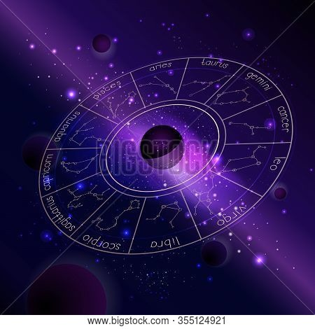 Vector Illustration Of Horoscope Circle With Zodiac Constellations Against The Space Background With
