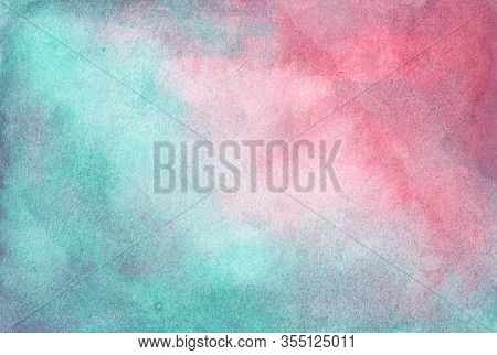 Abstract Blur Background In Vintage Style. Green And Pink Colors. Smooth Pastel Colors Wet Effect. W