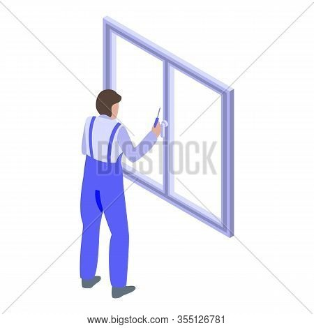 Professional Window Installation Icon. Isometric Of Professional Window Installation Vector Icon For