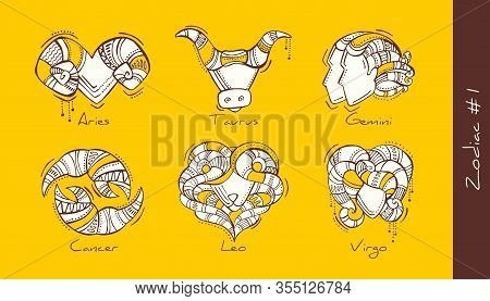 Set Of Vector Graphic Illustration Of Zodiac Signs In Boho Style. Aries, Taurus, Gemini, Cancer, Leo